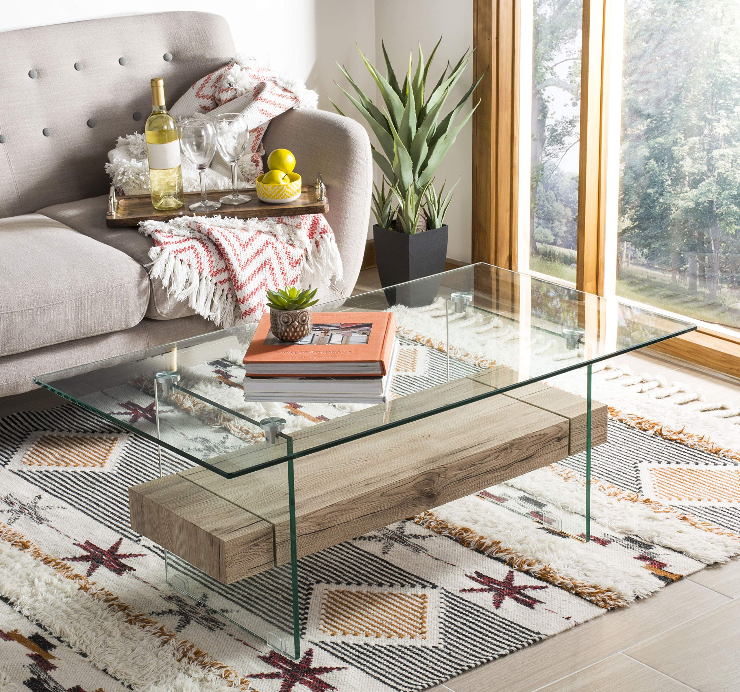 Safavieh COF7004A Home Collection Kayley Natural Rectangular Modern Glass Coffee Table, by Safavieh
