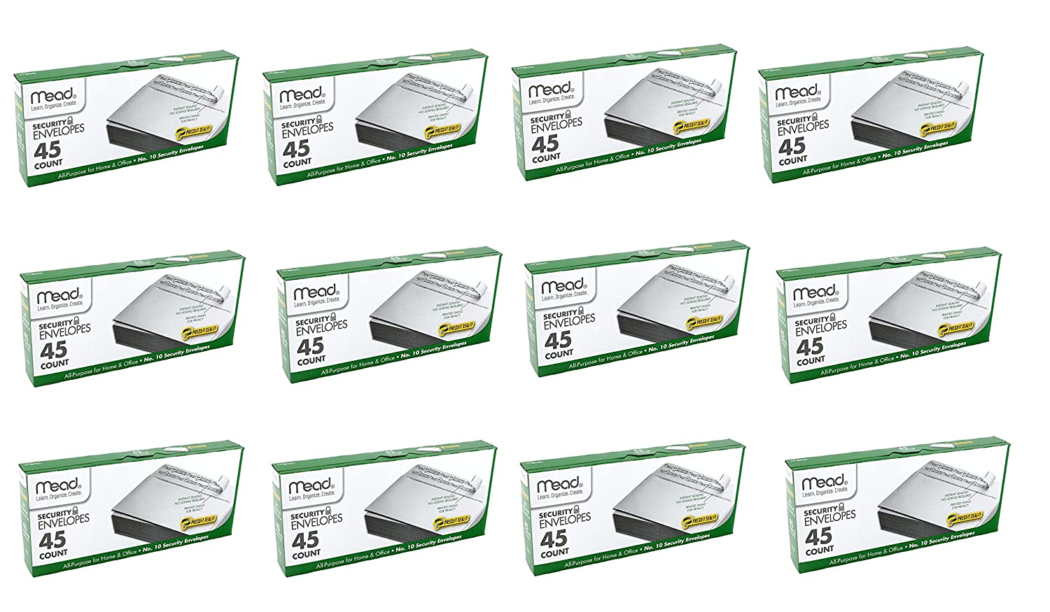 Mead #10 Envelopes, Security, Press-it Seal-it, 4-1/4 X 9-1/2 Inches, White, 45/Box (75026) MEAAH