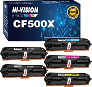 5-Pack HI-Vision Compatible HP 202X 202A CF500A CF500X Toner Cartridge Replacement for HP M281fdw M281cdw M254dw Laserjet Pro M281cdw M281dw MFP M281fdw M281cdw M281dw M281fdn M280nw M254dw Printer