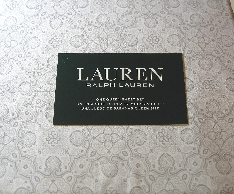 Lauren 4 Pieceクイーンサイズメダリオンフローラルシートセットグレー100 %コットン B079WW9SQZ