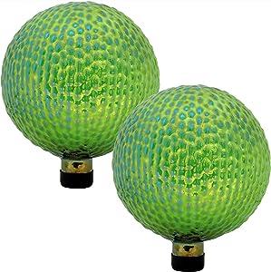 Sunnydaze Green Textured Surface Gazing Globe Ball, 10-Inch, Set of 2