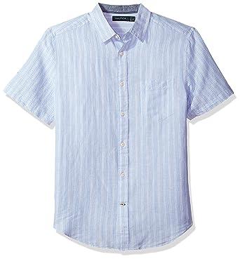 b16c8e9e64 Nautica Men's Classic Fit Short Sleeve Striped Linen Button Down Shirt,  Coastal Sky, Small