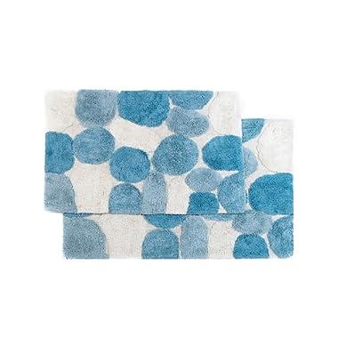 Chesapeake Pebbles 2Pc. Aquamarine Bath Rug Set 26653 (21 x34  & 24 x40 )