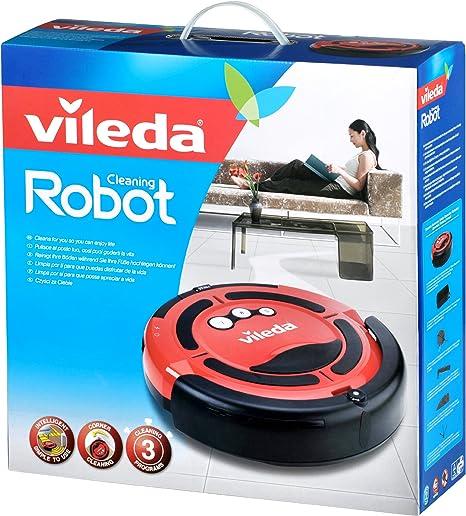 Vileda 137172 Relax Cleaning Robot 137172-Robot Aspirador, 3 programas de Limpieza, Color, 68 Decibelios, Negro y rojo: Amazon.es: Hogar