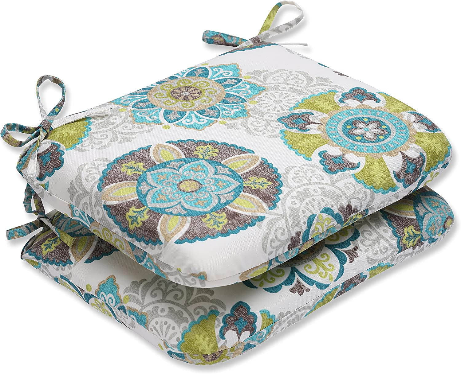 """Pillow Perfect Outdoor/Indoor Allodala Oasis Round Corner Seat Cushions, 18.5"""" x 15.5"""", Blue, 2 Pack"""