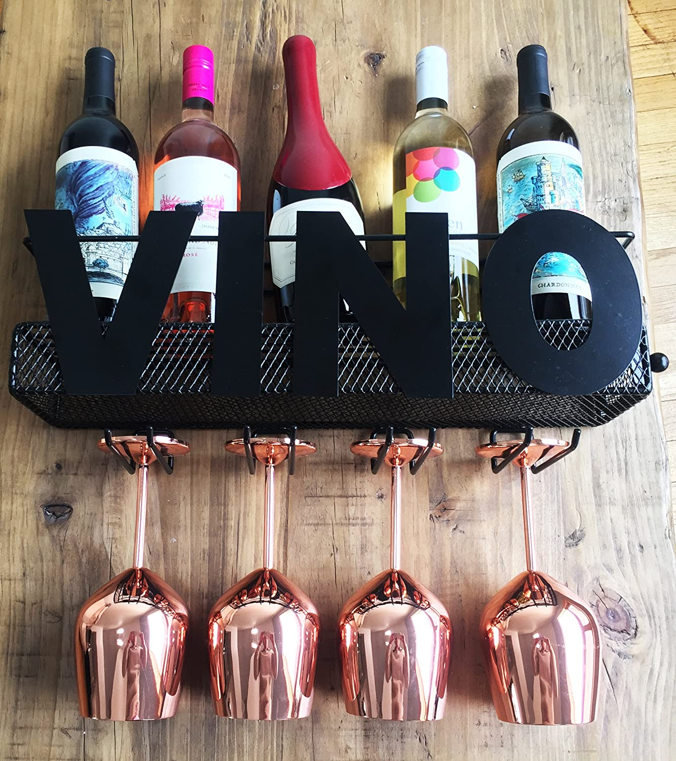 Cellar Door Selections VINO Metal Wall Mount Wine Rack - Holds 5 Wine Bottles, 4 Wine Glasses with Cork Storage – The Perfect Home Decor Gift for Wine Lovers – New Unique Design By Best Made Collections