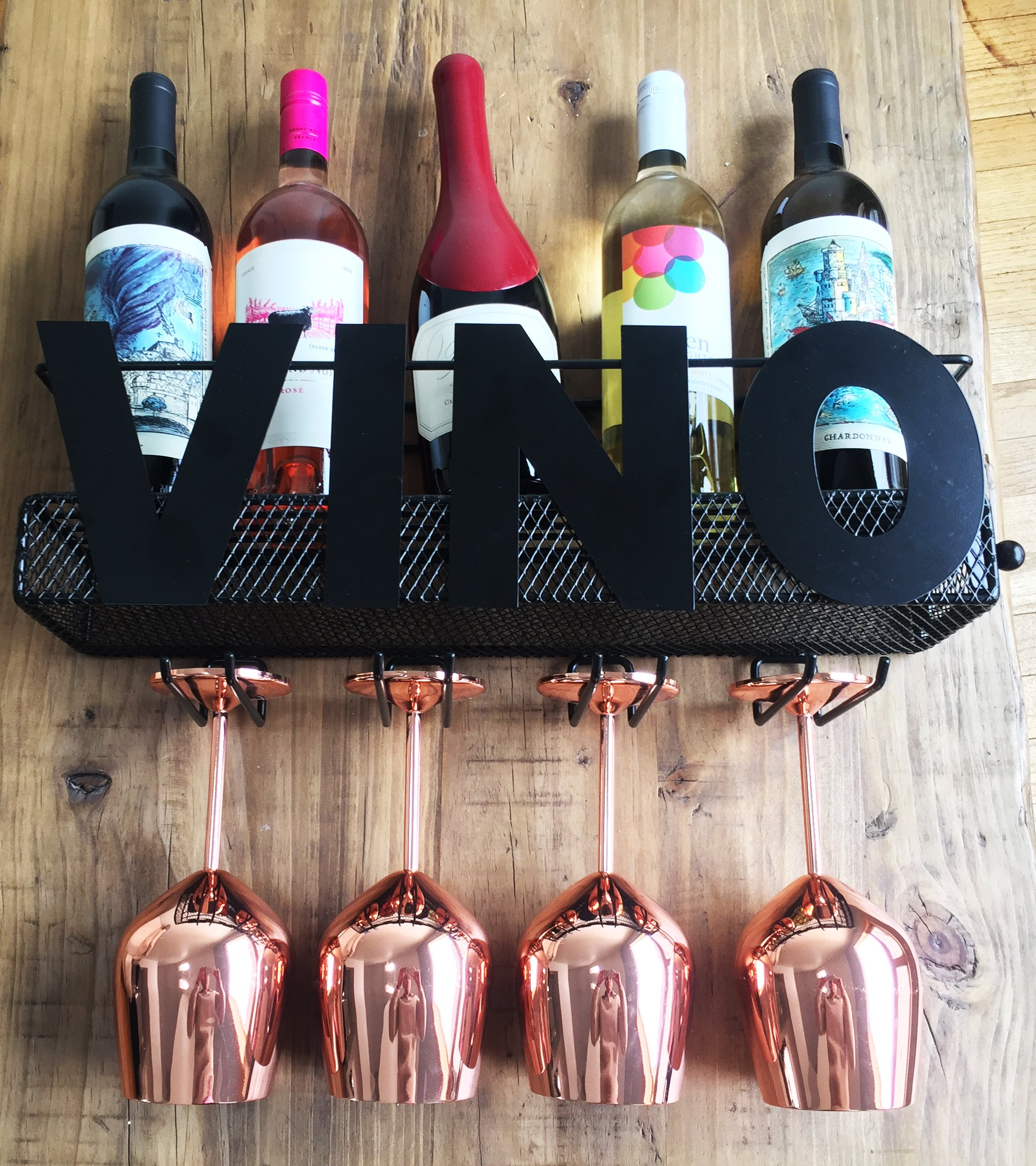 Cellar Door Selections VINO Metal Wall Mount Wine Rack - Holds 5 Wine Bottles, 4 Wine Glasses with Cork Storage – The Perfect Home Decor Gift for Wine Lovers – New Unique Design By by Cellar Door Selections