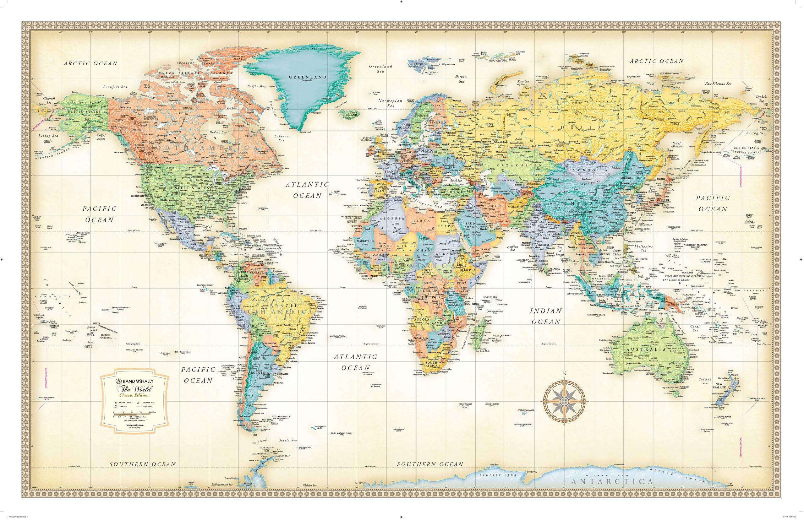 Amazon In Buy Rand Mcnally Classic World Wall Map