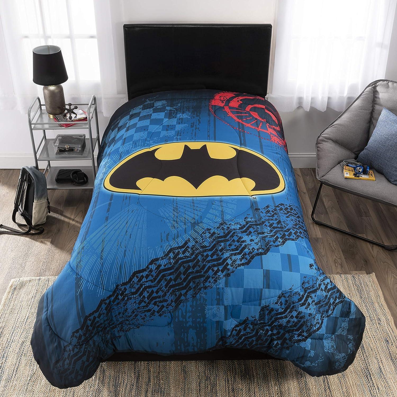 Warner Bros Batman Bedding Soft Microfiber Reversible Comforter, Twin/Full, Grey/Blue Franco Manufacturing ML4828
