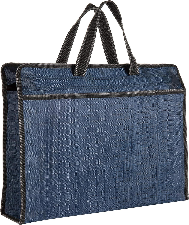 Zippered Document Bag Business Briefcase Waterproof Lightweight Handbag Ideal for Files Laptop Notebooks Stationary Meeting Business Trip Office and School (Blue)