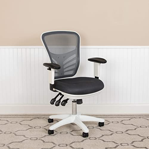 EMMA OLIVER Mid-Back Dark Gray Mesh/White FrameMultifunction Ergonomic Office Chair w/Arm