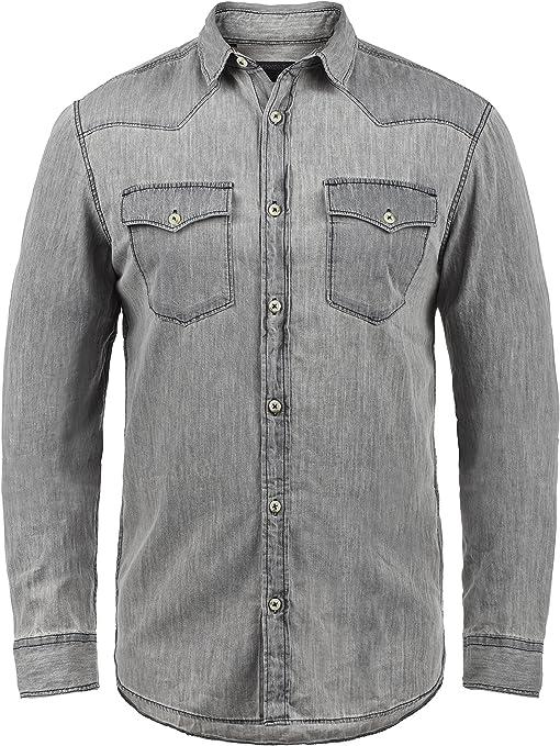 Produkt Paulus - Camisa de Jeans para Hombres, tamaño:3XL, Color:Light Grey Denim: Amazon.es: Ropa y accesorios