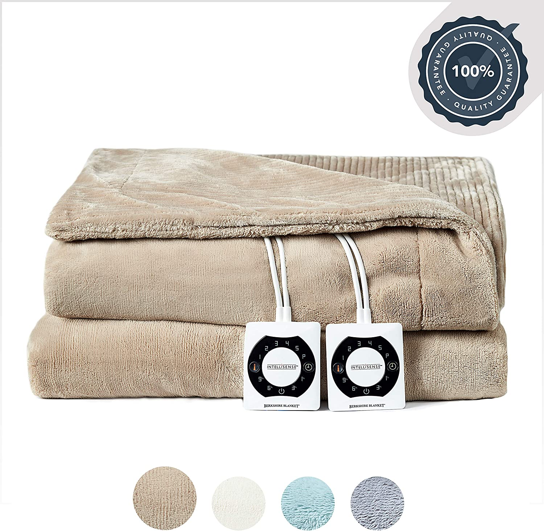 Berkshire Electric Blanket with Intellisense - Doe - Queen Size Plush Heated Blanket