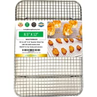 """1/4 Sheet Pan Cooling Rack and Wire Grate Safe Rust-Resistant Heavy Duty (8.5""""X12""""X1.4"""")"""