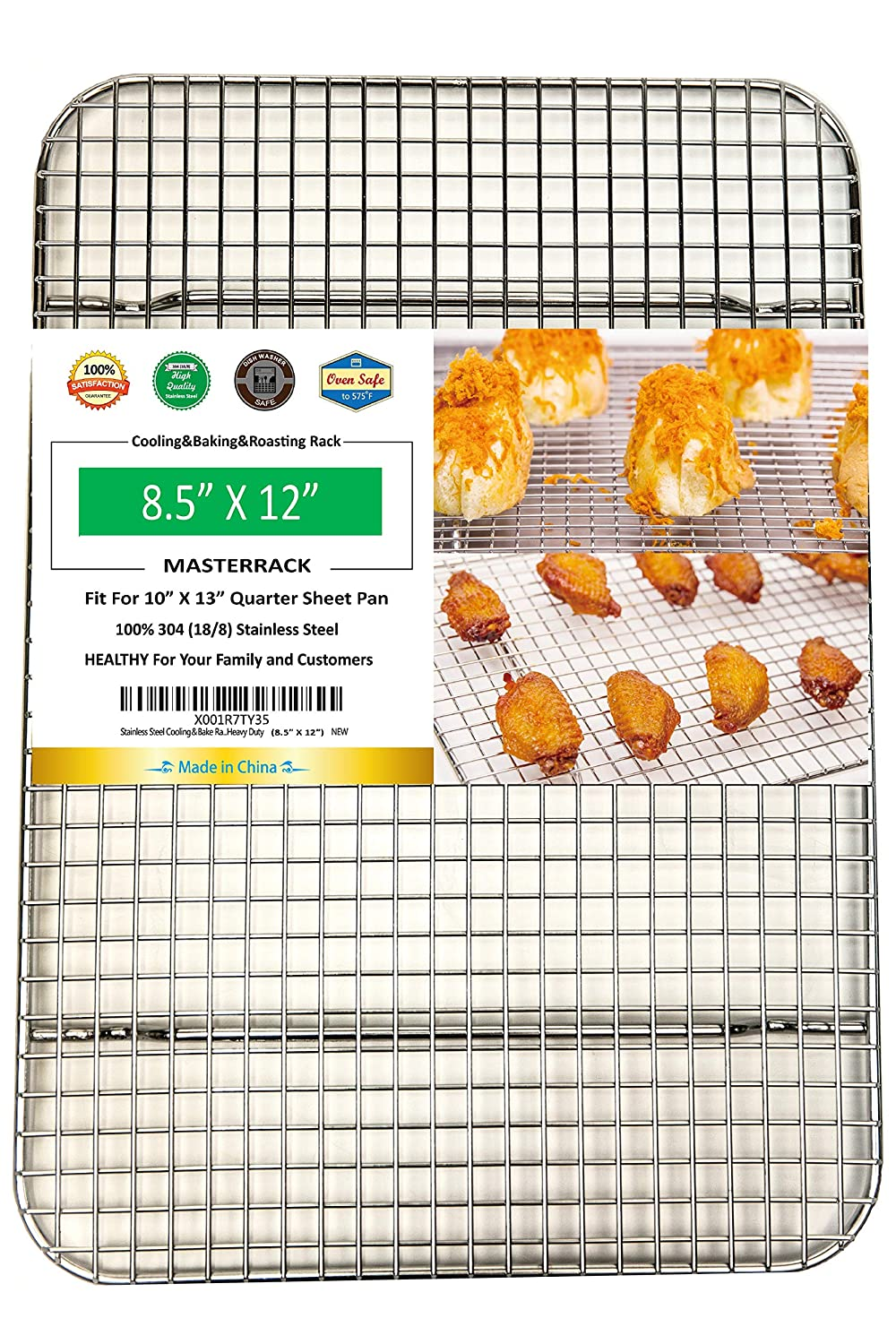 8.5X12X1.4 Cake MASTERRACK 100/% 304 Stainless Steel Cooling and Baking Rack fits Quarter Sheet Pan . Cool for Bread Cookie,Bread .