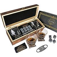 Eyozka Whiskey Glass Set Gift Box - C. Cutter and Whiskey Stones Included - Chilling Stones Gift Set - Scotch Bourbon…