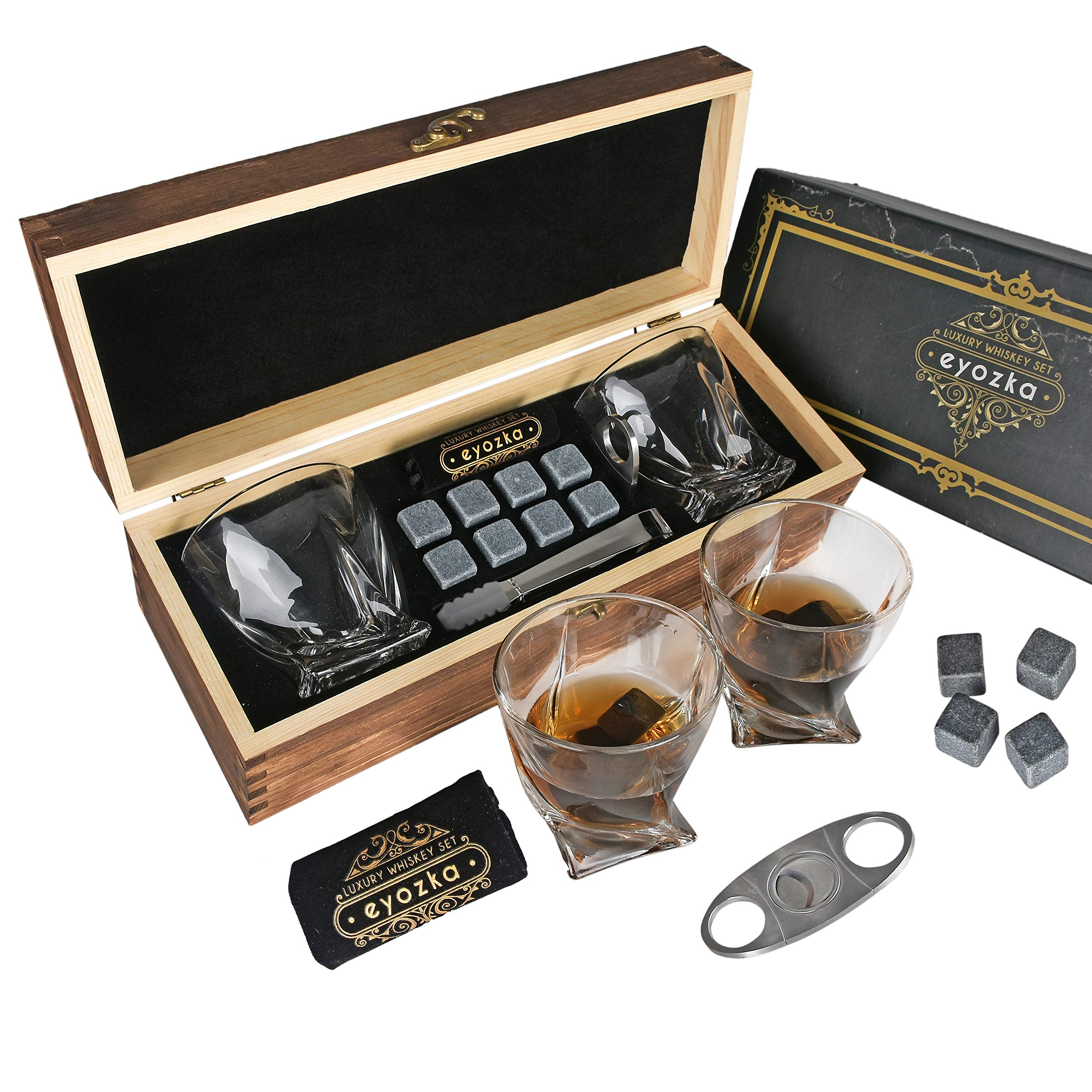 Eyozka Whiskey Glass Set Gift Box - Cigar Cutter and Whiskey Stones Included - Chilling Stones Gift Set - Scotch Bourbon Glasses Bar Accessories - Reusable Ice Cubes - Unique Gifts for Men by Eyozka