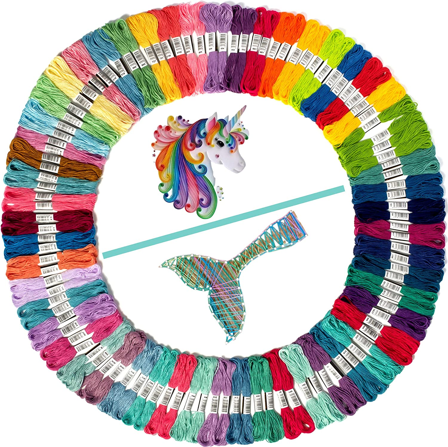 Best Bracelets String Set Thread or String Craft Cross Stitch 100 Embroidery Floss Coded as Embroidery Thread Numbers Friendship Bracelet String Embroidery Thread Mermaid Color Palettes
