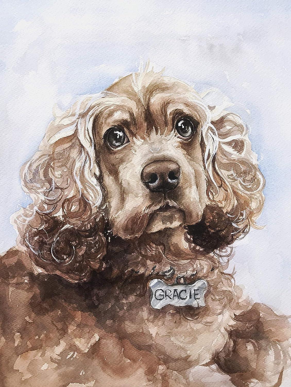 8342699f34e7 Amazon.com: Custom pet portrait from your photo, dog portrait, cat portrait,  pet art commission, pet memorial, custom dog picture, dog portrait artist:  ...