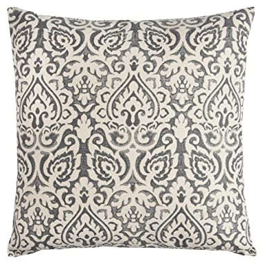 Rizzy Home T10482 Decorative Poly Filled Throw Pillow 22  x 22  Gray