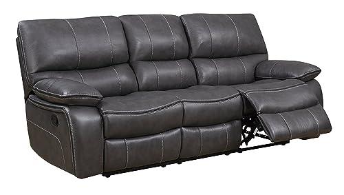 Global Furniture Reclining Sofa, Grey Black