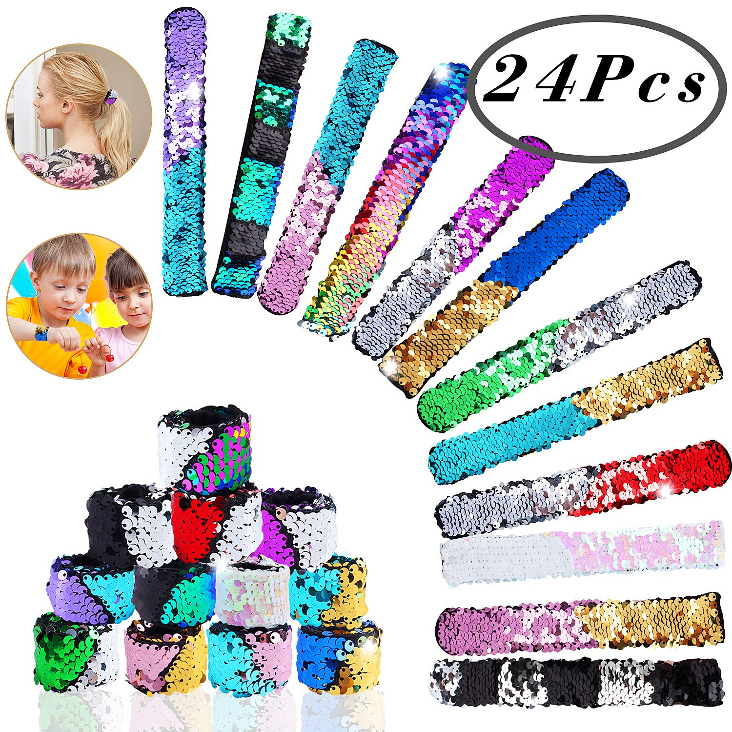 Hicdaw Mermaid Slap Bracelet Sequin, 24 Pcs Sequin Slap Bracelet 24 Color Flip Sequin Bracelet Mermaid Sequin Bracelets Reversible Mermaid Bracelet Wristband Charm Slap Bracelet for Birthday Gifts