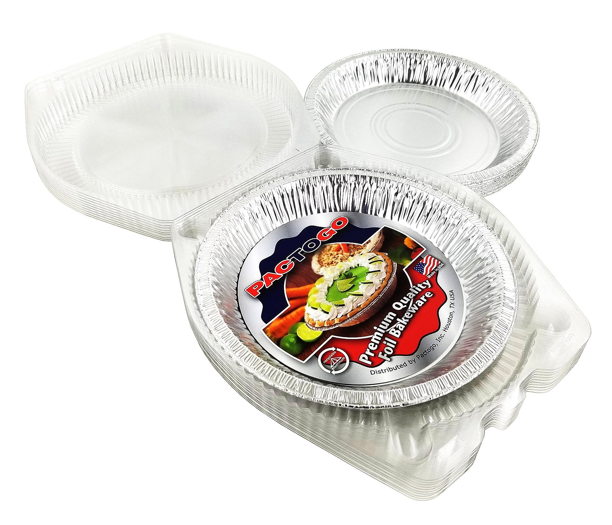 Pactogo 10'' (Actual Top-Out 9-5/8 Inches - Top-In 8-3/4 Inches) Aluminum Foil Pie Pan - Disposable Baking Tin Plates with Clear Plastic Hinged Containers (Pack of 200 Sets)