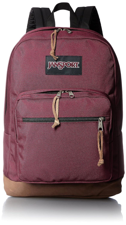 JanSport Backpack Russet Red School Bag Suede Leather Bottom ...
