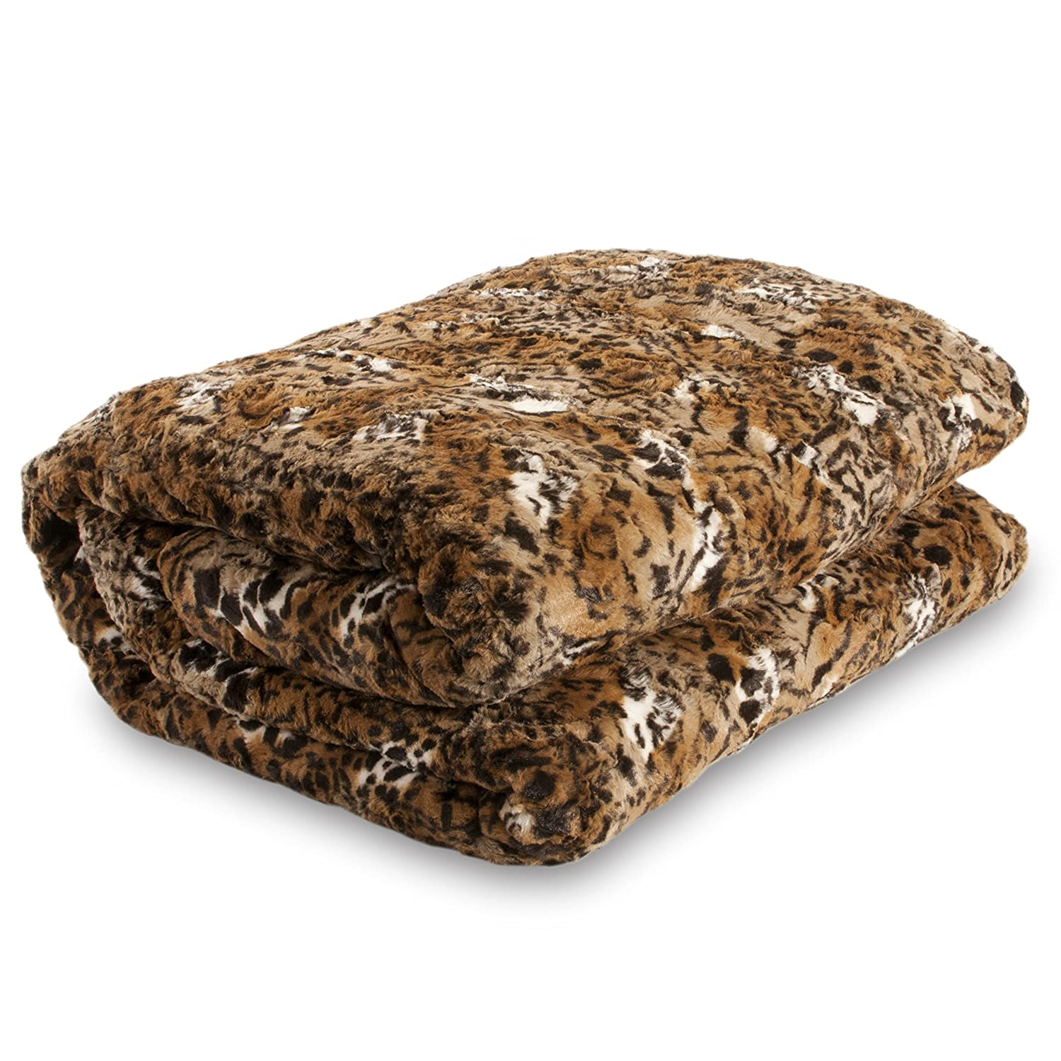 Safari Faux Fur Plush Throw Blanket Comforter, Queen