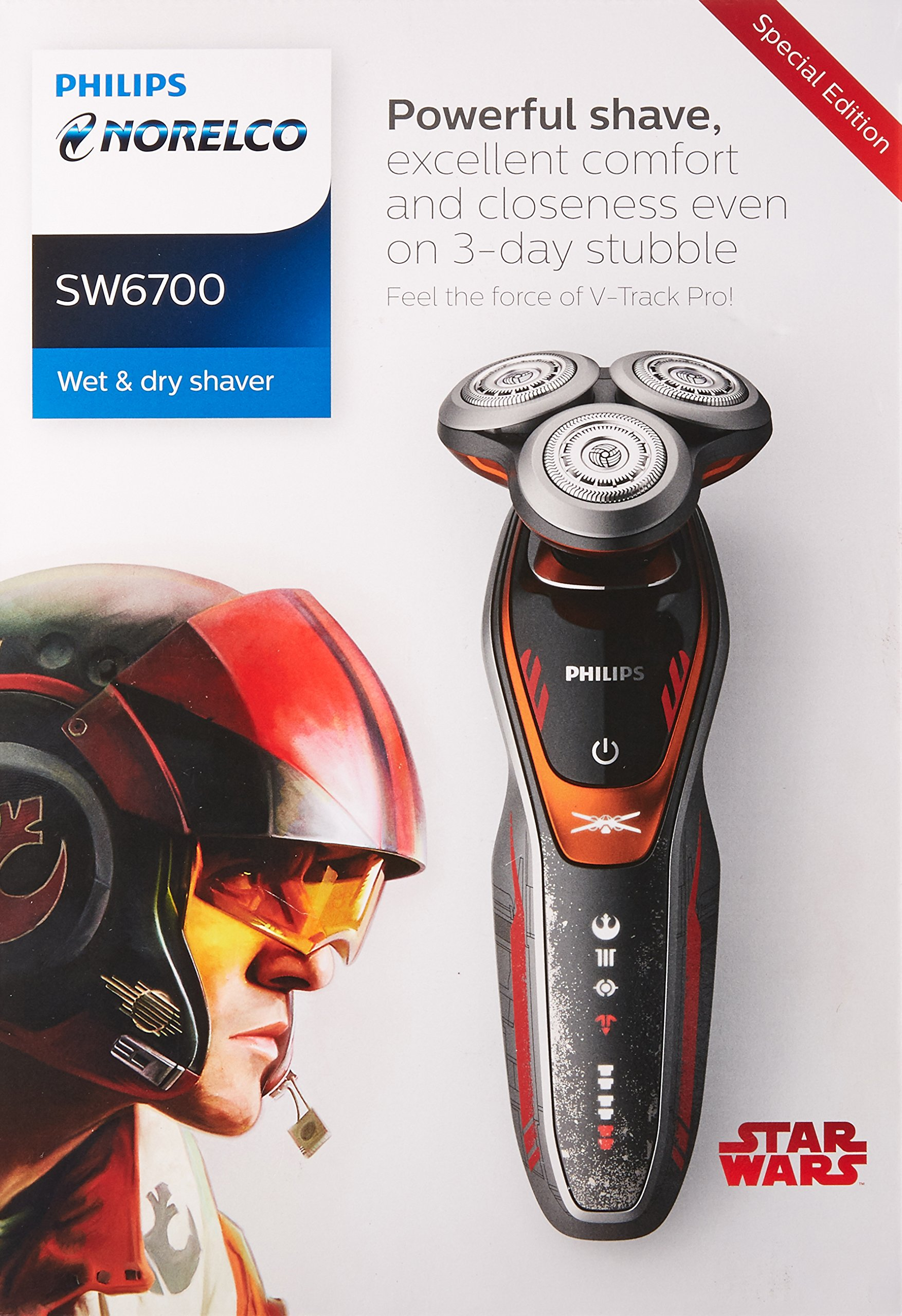 Philips Norelco Special Edition Star Wars Poe Wet & Dry Electric Shaver, SW6700/91, with Turbo+ mode and Precision Trimmer by Philips Norelco (Image #3)