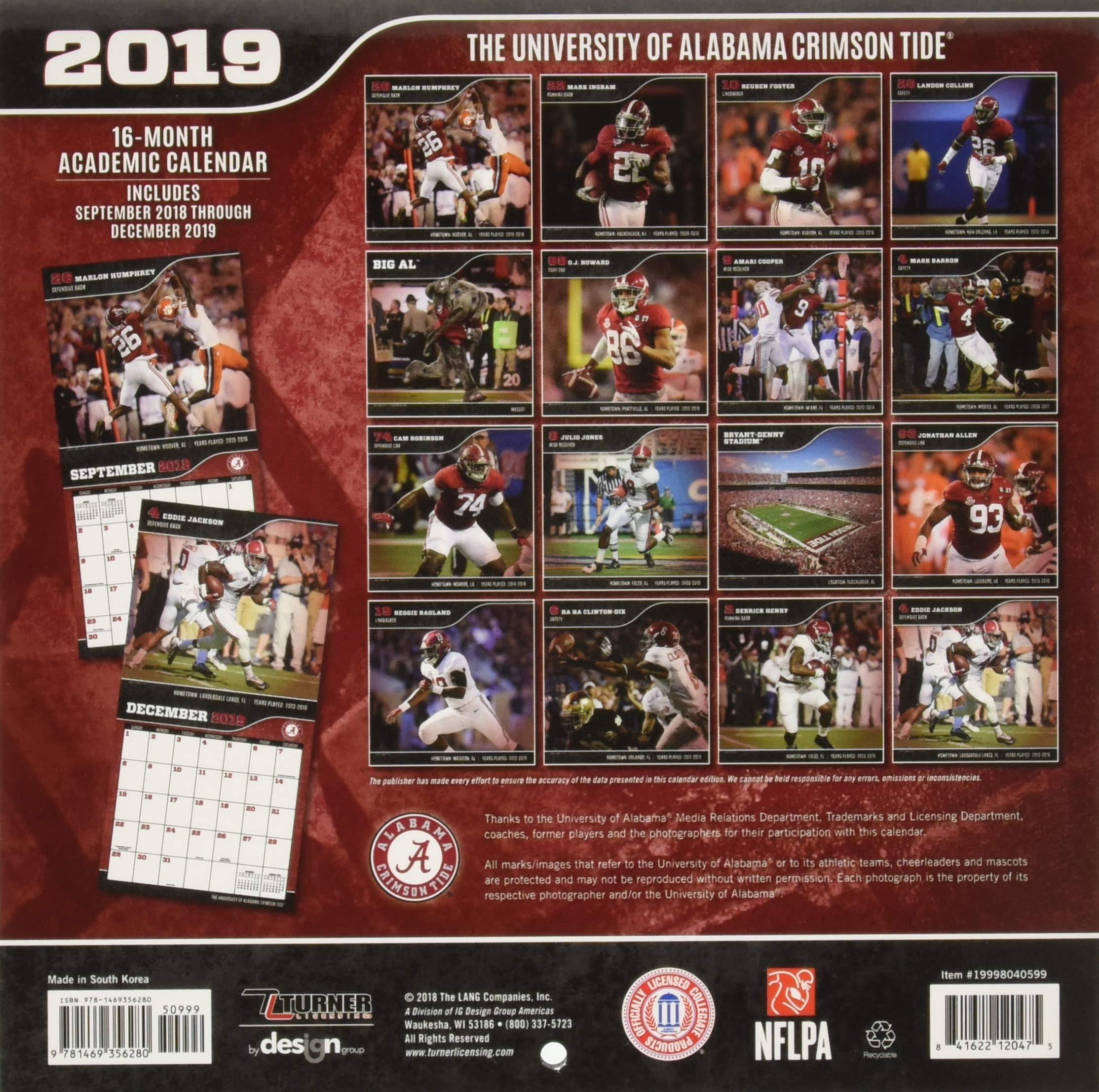 University Of Alabama Academic Calendar.The University Of Alabama Crimson Tide 2019 Calendar Inc Lang