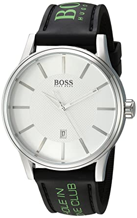 9c5562413 Image Unavailable. Image not available for. Color: BOSS Black Men's Quartz Stainless  Steel and Silicone Casual Watch ...
