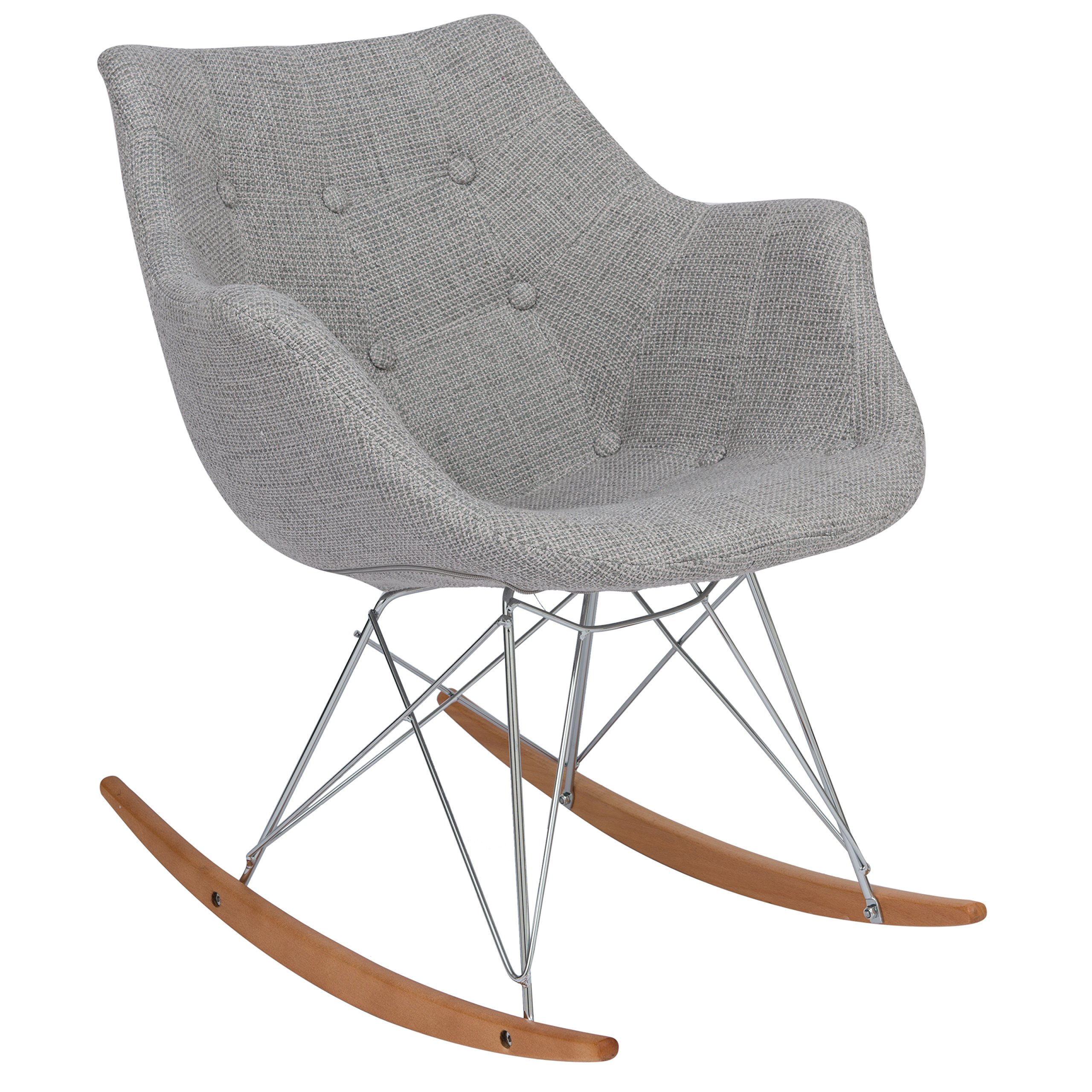 LeisureMod Willow Fabric Eiffel Base Modern Petite Rocking Chair in Grey