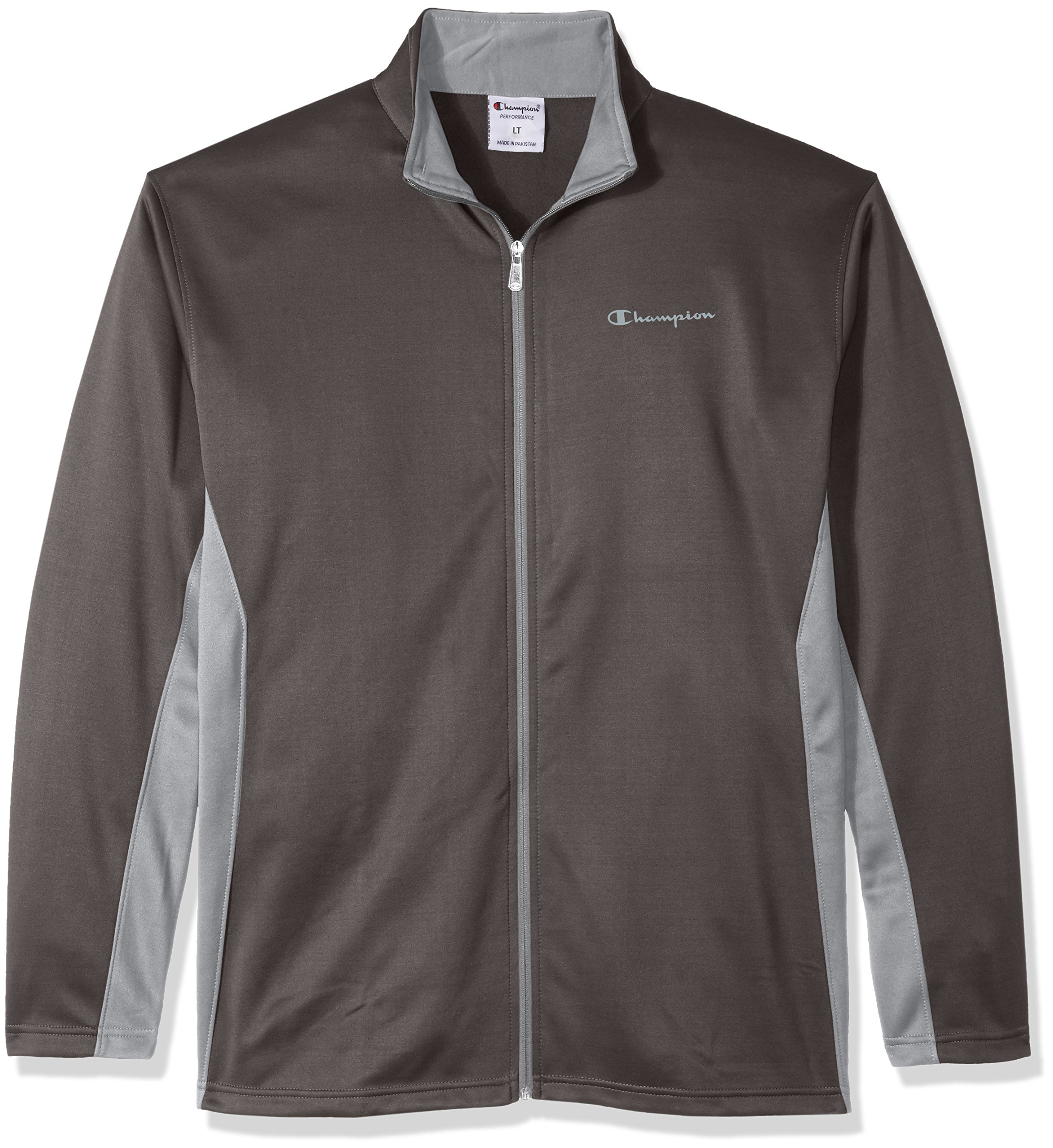 Champion Men's Big and Tall Full C-Vapor with Side Panel Contrast Zip, Stealth/Concrete, 2XT