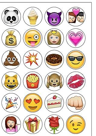 Lot De 24 Décorations En Papier Comestible Pour Iphone Emoji De 4 Décorations De Gâteau
