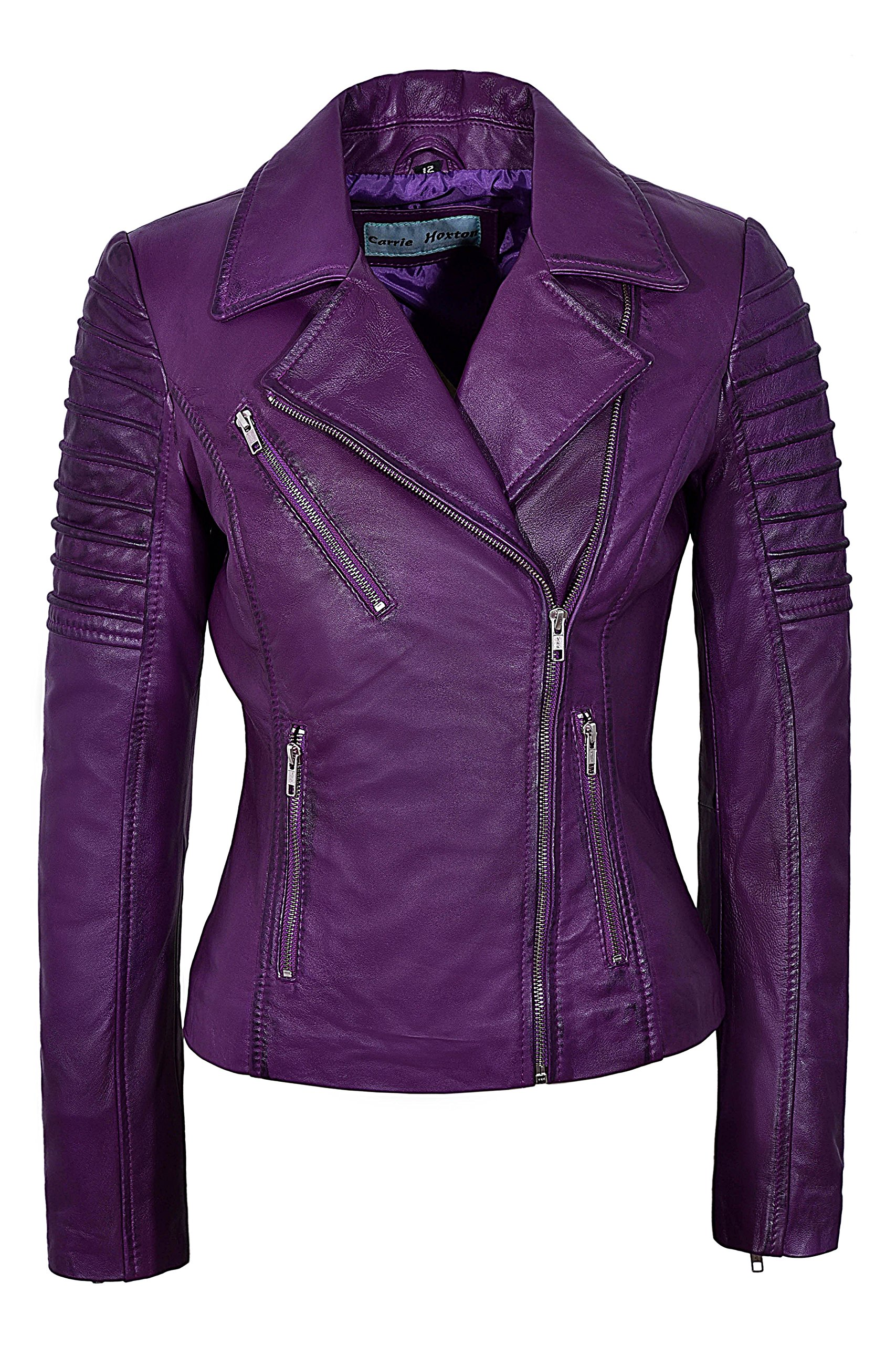 Smart Range New Ladies 9334 Fashion Designer Biker Style Real Soft Lambskin Leather Jacket (UK 18 / US 14, Purple) by Smart Range