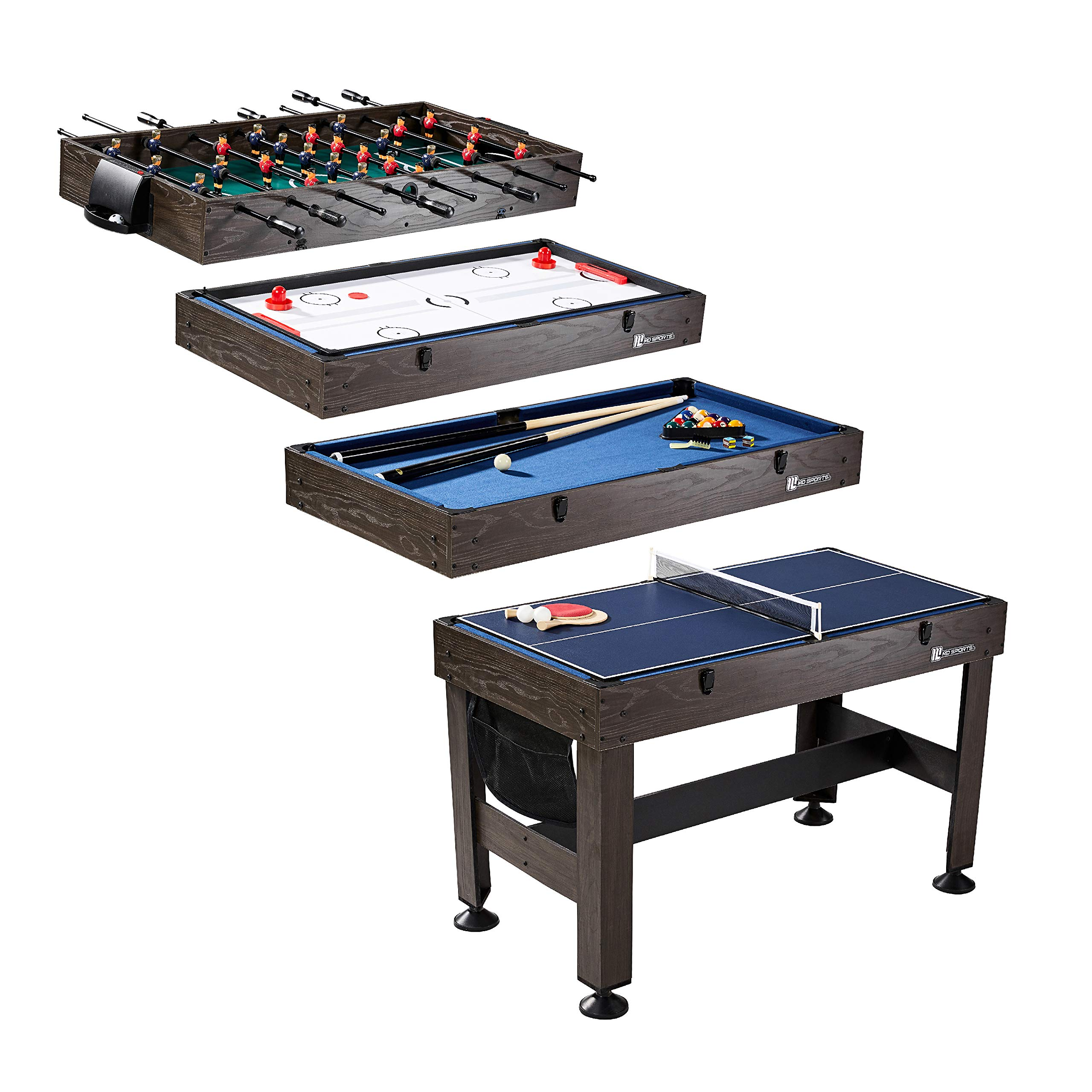 MD Sports Table Tennis, Slide Hockey, Foosball, Billiards, 54'' 4-in-1 Combination Game Set with side Lock Clips - Quick Set-Up, Interchangeable, Fully Equipped by MD Sports