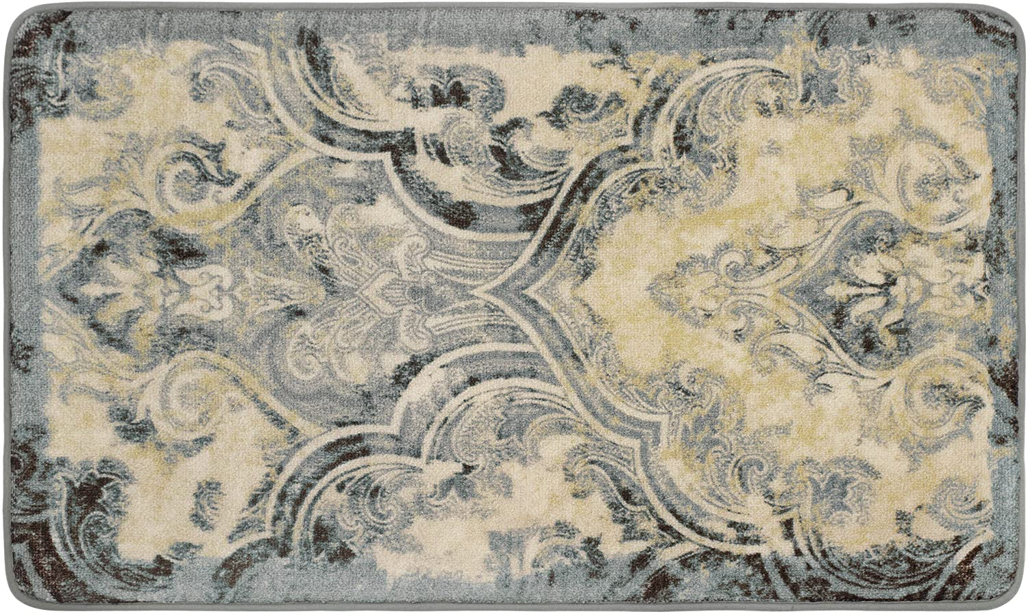 """Laura Ashley Daventry High Definition Printed Memory Foam 20"""" x 32"""" Accent Rug, Taupe, 20 in. x 32"""