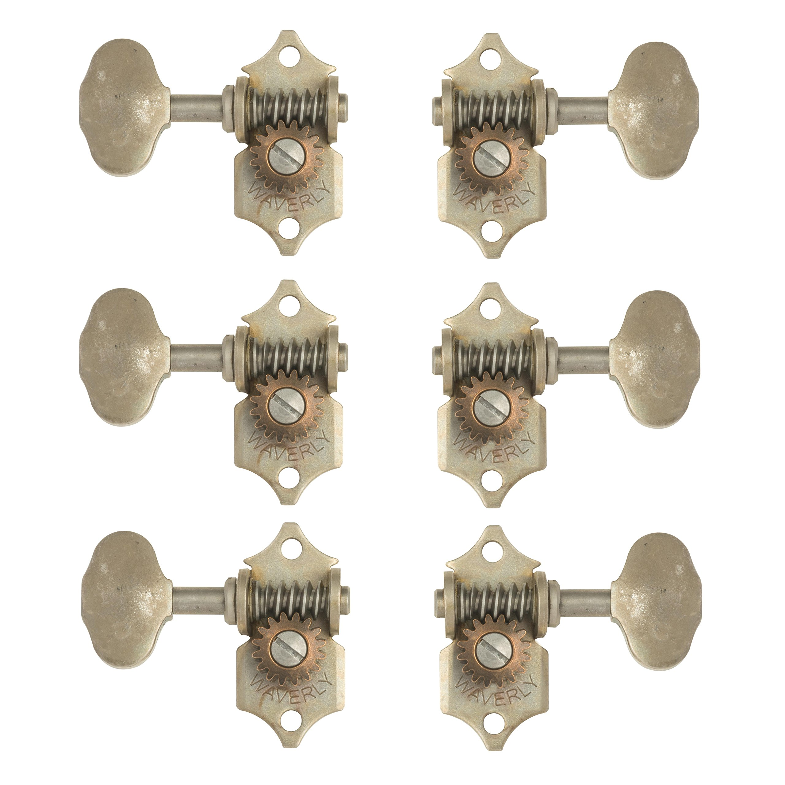 Waverly Guitar Tuners with Butterbean Knobs, for Solid Pegheads, Relic nickel, 3L/3R