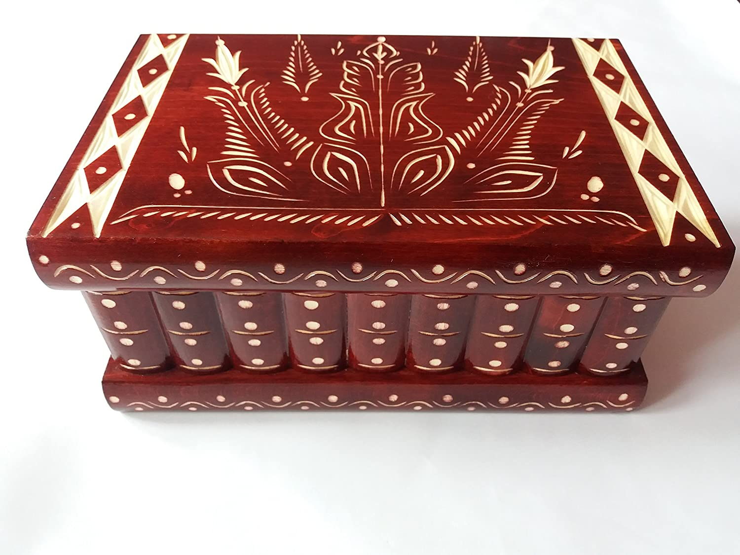 Huge puzzle box magic jewelry box premium treasure gift new very big box red handmade mystery case carved wooden storage brain teaser