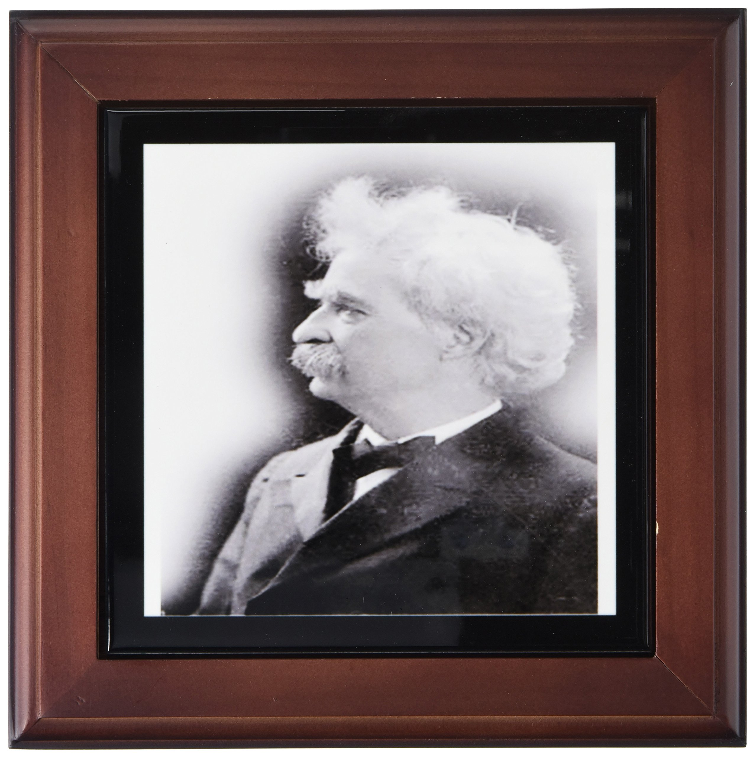 3dRose ft_98647_1 Vintage Photo of Mark Twain.Jpg-Framed Tile, 8 by 8-Inch
