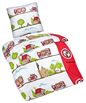 Aminata Enfants Linge De Lit Enfant 135 X 200 Cm Imprime Pompiers