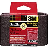 3M 9266NA Heavy Duty Power Sanding Belts - Coarse 50g, 3-Inch by 21-Inch 2-pack