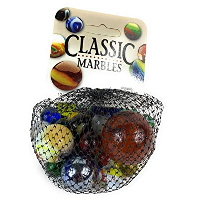 Mega Marbles Beginners Marbles Game - 24 Player Marbles - 1 Shooter Marble With Display Rings: Toys & Games