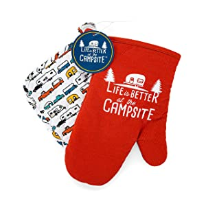 Camco Multicolor Life is Better at The Campsite Heat Resistant Oven Mitt and Pot Holder Set-Red with White Logo Design, Excellent for RV Kitchens, Camping and More (53260)