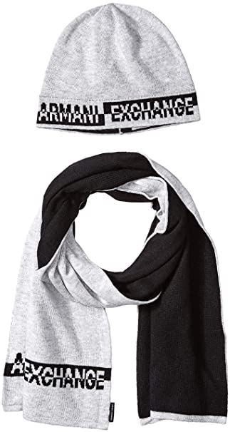 fe07331e3112 ARMANI EXCHANGE Knitwear, Set sciarpa, cappello e guanti Uomo, Grigio  (Alloy Htr
