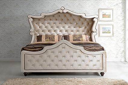 Meridian Furniture Diamond Canopy Velvet Bed, Queen