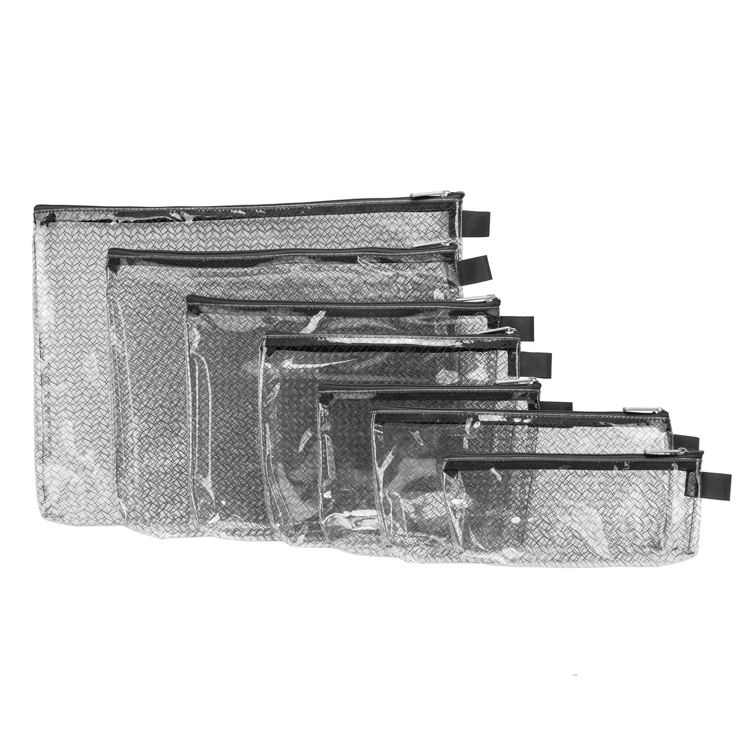 Travelon Set of 7 Packing Envelopes, Clear with Black Trim, Assorted Sizes