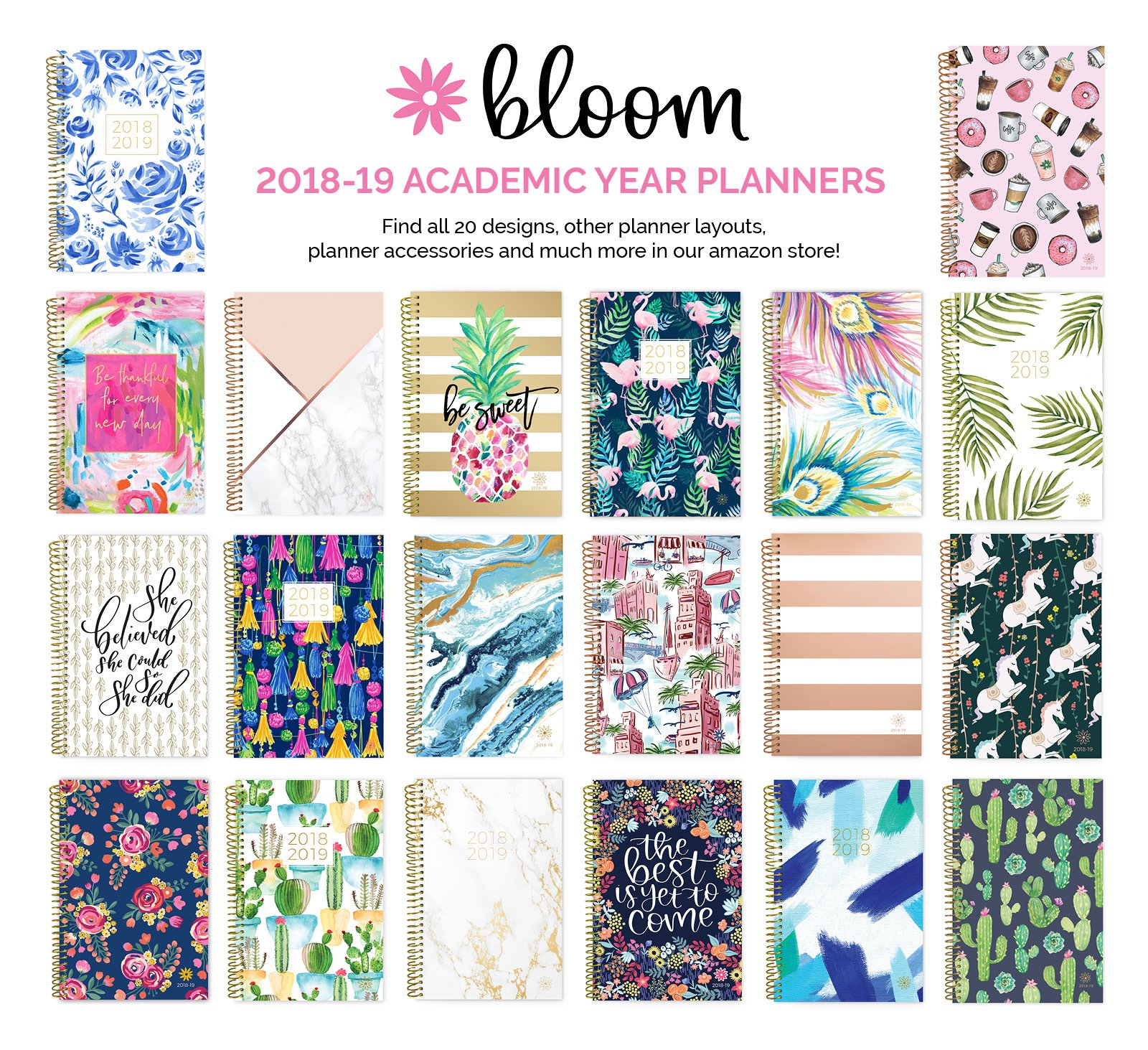 bloom daily planners 2018-2019 Academic Year Day Planner - Monthly and Weekly Calendar Book - Inspirational Dated Agenda Organizer - (August 2018 - July 2019) - 6'' x 8.25'' - Marble by bloom daily planners (Image #6)
