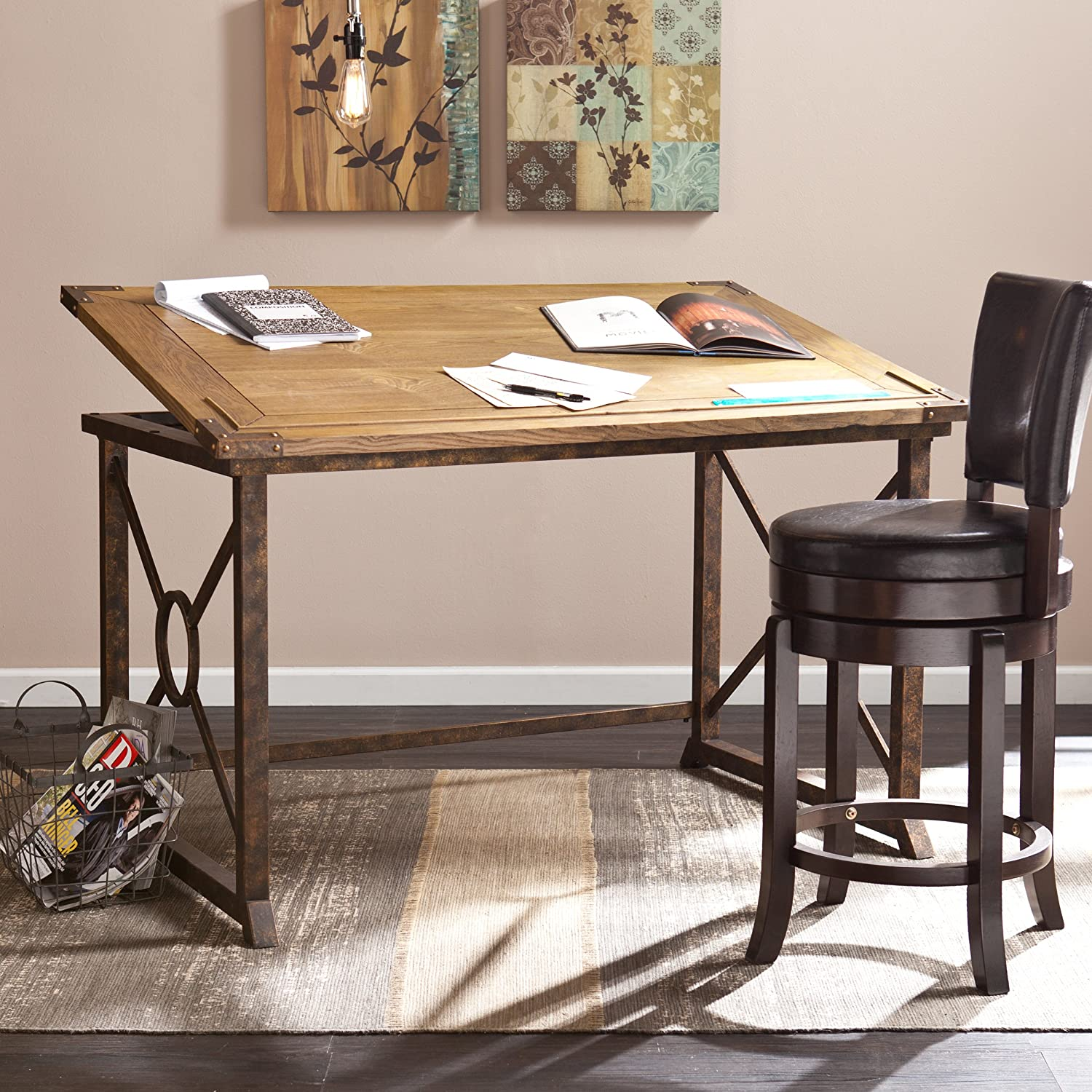 """Southern Enterprises Knightley Tilt-Top Drafting Table 51.5"""" Wide, Weathered Oak Finish with Antique Brass"""
